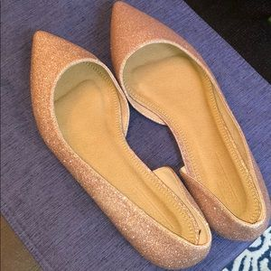 ASOS Rose Gold Glitter Flats Size 11 wide 11W US